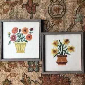 Vintage Framed Embroidered Flowers